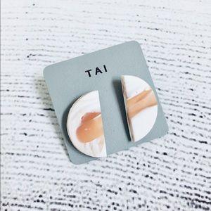 Tai White/Caramel Stud Color Statement Earrings